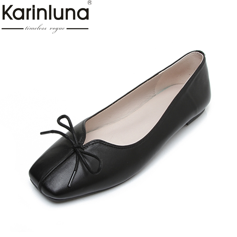 KARINLUNA large size 34-43 genuine leather soft flats women shoes comfortable butterfly easy walking bow lady girls shoes woman sgesvier comfortable senior leather fabrics simple and easy red green and four color yellow women flat shoes size 34 41 xt21