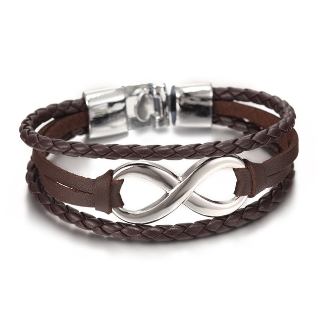 Infinity Shaped Pendant Leather Bracelets