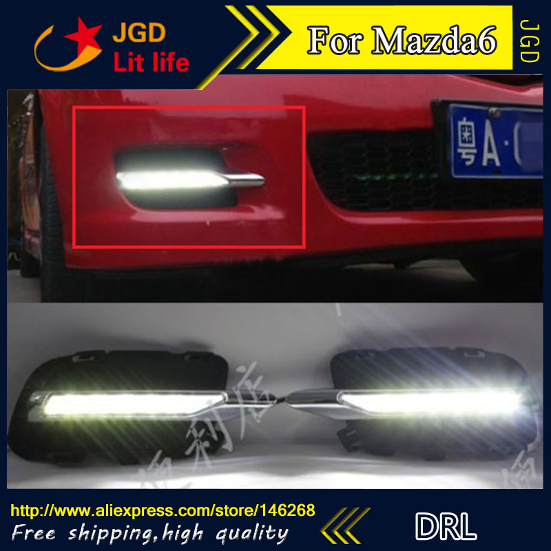 Free shipping ! 12V 6000k LED DRL Daytime running light for Mazda6 Mazda 6 2011-2013 fog lamp frame Fog light Car styling