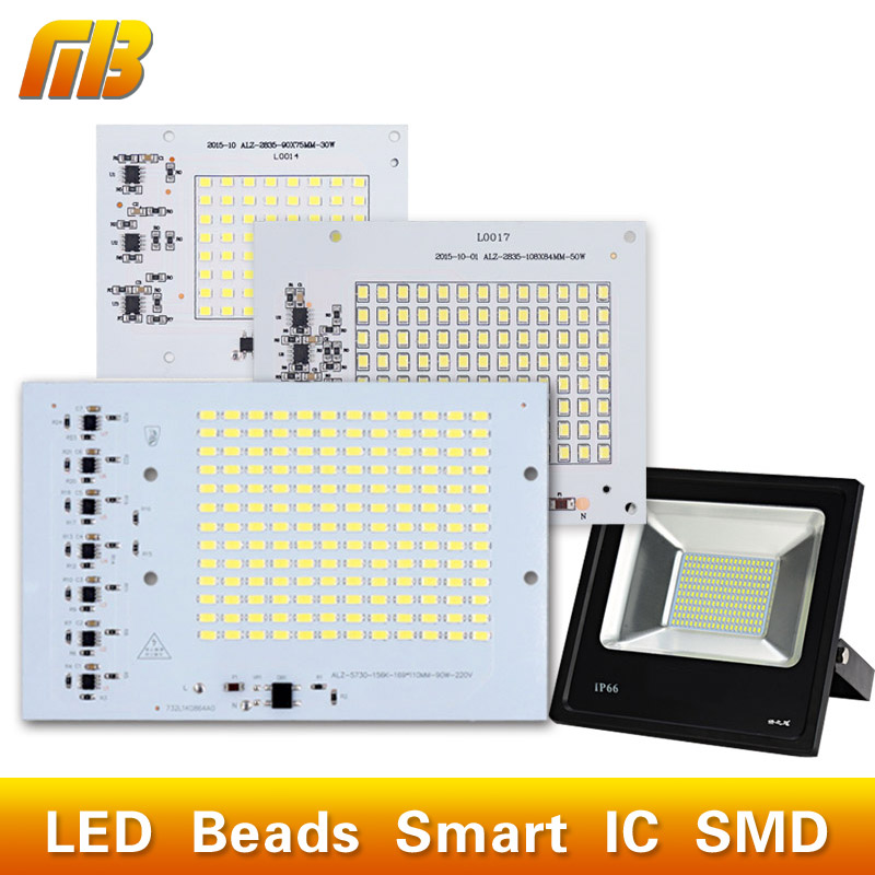 SMD LED Lamps Chip Bead Smart IC 220V 10W 20W 30W 50W 90W For Outdoor FloodLight Cold White/Warm White