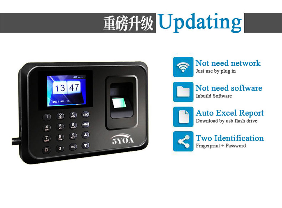 A01 Biometric Attendance System USB Fingerprint Reader Time Clock Employee Control Machine Electronic Device Spanish Spain En