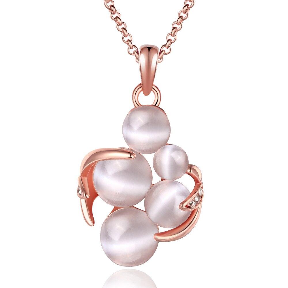 ୧ʕ ʔ୨Erluer moda rosa de oro de color ópalo Collar para las ...