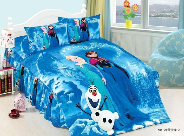 Blue Color Frozen Elsa Anna Bedding Sets S Children Bedroom Decor Single Twin Size Bedspread Duvet