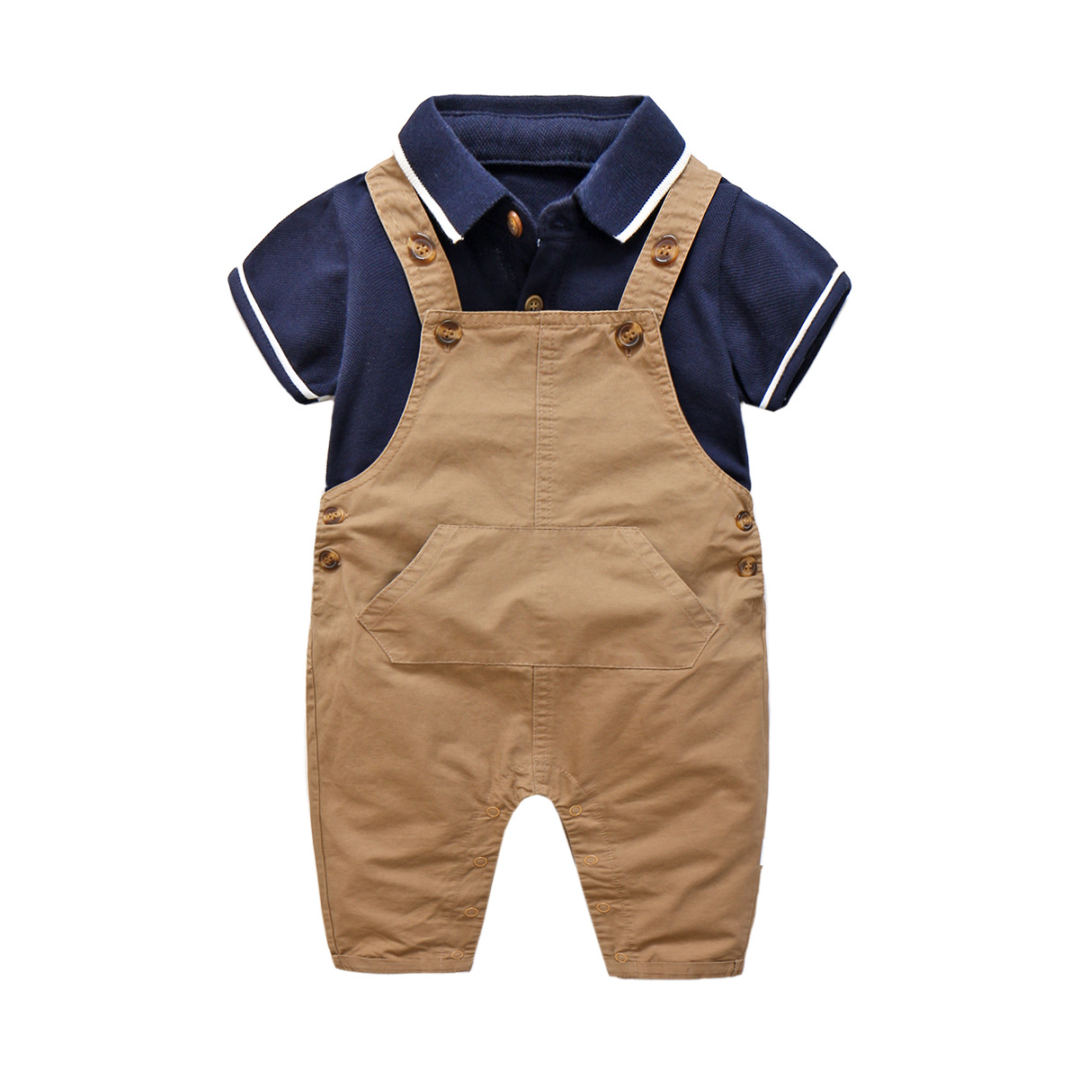 Baby Boys Summer Set Lapel Rompers +overalls, Toddler Handsome Gentleman Suspenders Trousers Set Outfit Baby Clothes 6-24M