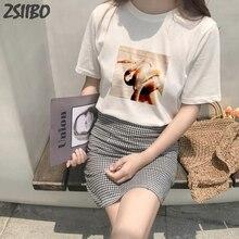 Female t shirt Hand holding snake print Summer Womens Fashion Large Size Loose Harajuku Casual Fun T-Shirt 3D Letter Print tops