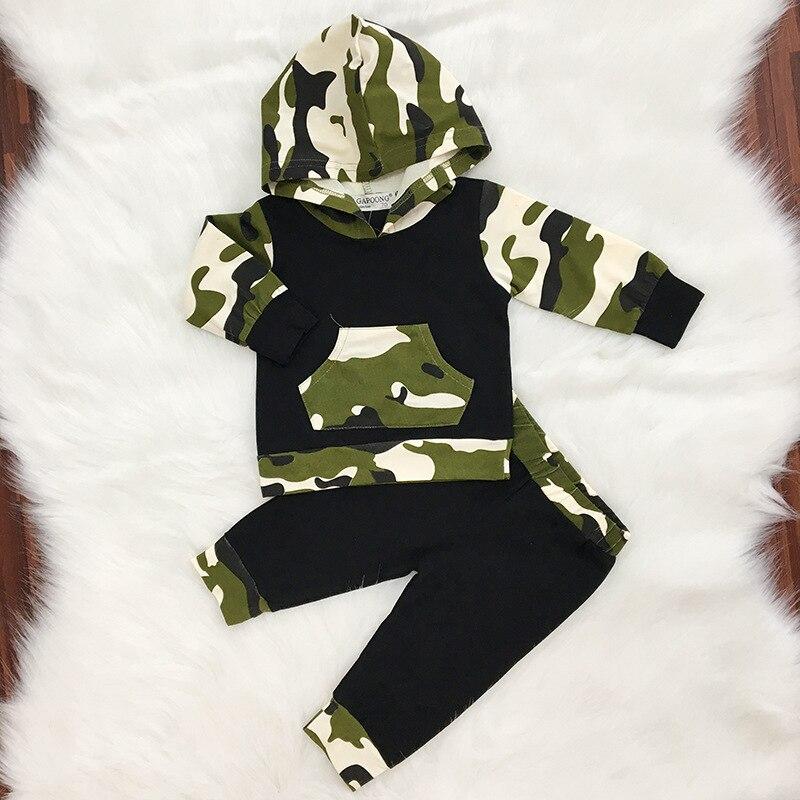 2 шт. осень-весна Одежда для младенцев Одежда для малышей Наборы для ухода за кожей для маленьких мальчиков Камуфляж Камо Толстовка Топы кор...