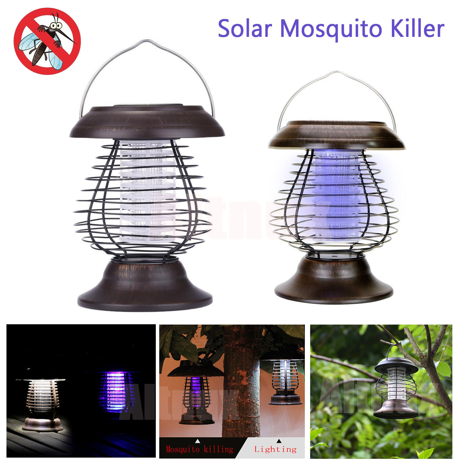 Porch Light Bug Zapper: Outdoor UV LED Solar Powered Lawn Light Anti Mosquito