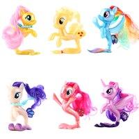6Pcs/Set Unicorn Fish Ponies Action Toy Figures Twilight Sparkle Rainbow Dash Apple Jack Rarity Fluttershy Pinkie Pie Kids Toys