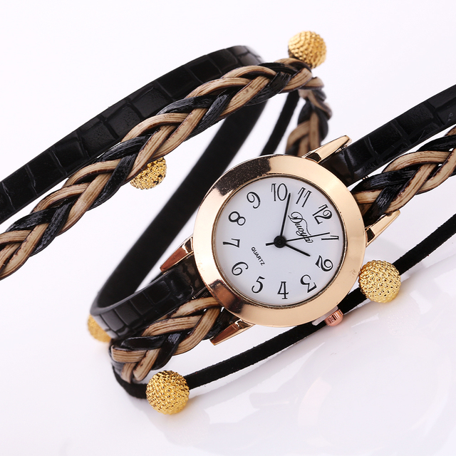 Women Dress Watch 2017 Duoya Top Brand Fashion Gold Beads Braided Bracelet Quartz Wristwatch Casual Vintage Watch Clock