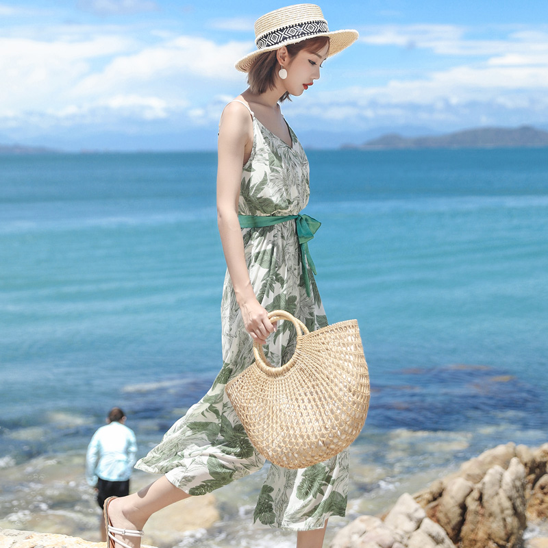 Printed Holiday Beach Jumpsuit with wide leg pants New Suspended Belt Waist V-neck Jumpsuits with Calf-Length Pants Summer