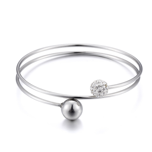 New Fashion Shambhala Beads Bracelet 2 Circles Stainless Steel Cuff For Women Silver Color Jewelry