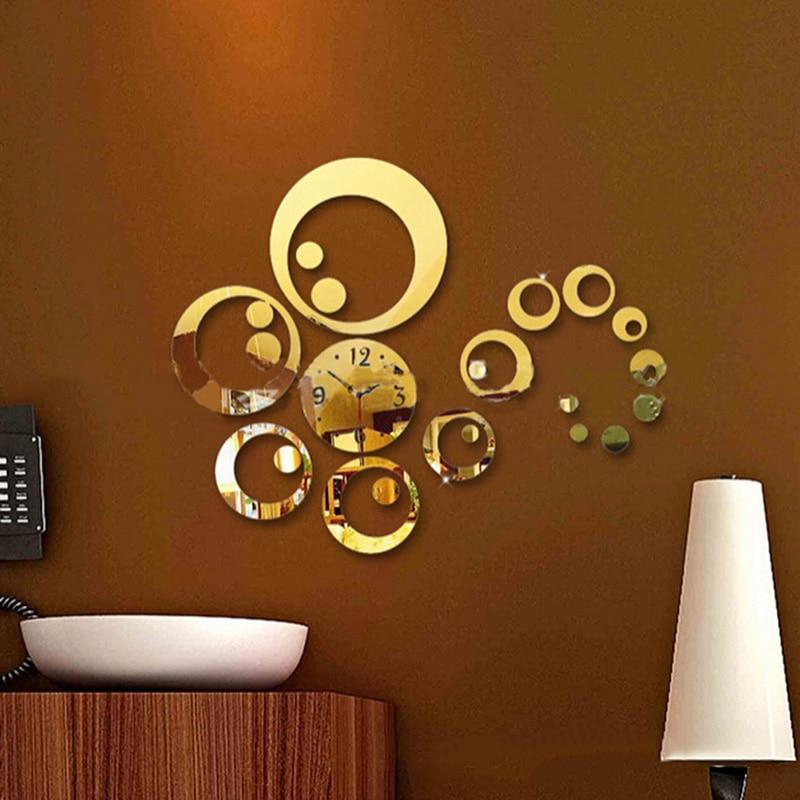 Creative Mute Round Shape Personality Wall Clock Home Needle Digital Quartz Wall Watch Fashion Decoration Clock Family Gifts