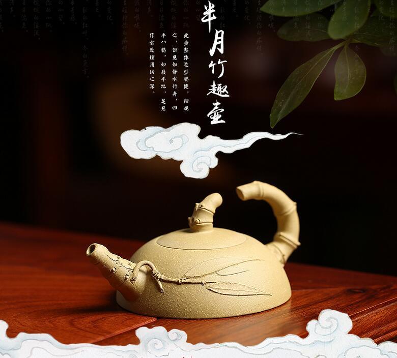 100cc High quality Yixing Purple Clay Bamboo Fun Half Moon Teapot hand made Purple Clay teapot Purple Clay teapots fres shipping