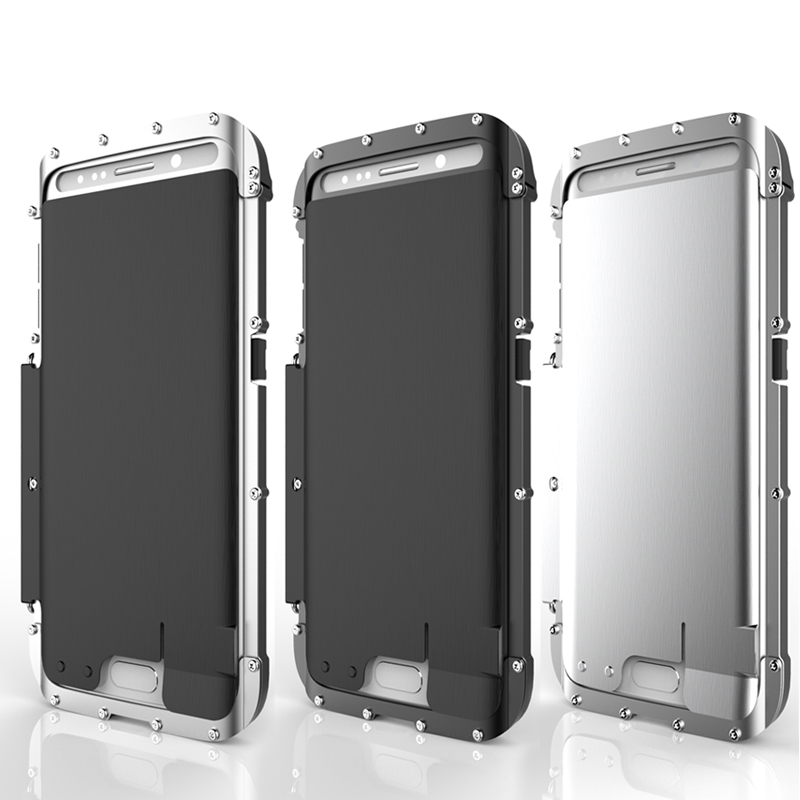 R-JUST Armor King En Acier Inoxydable Flip Métal Case pour SAMSUNG Galaxy S7 Edge & S7 Puissant Anti-Frapper Housse De Protection