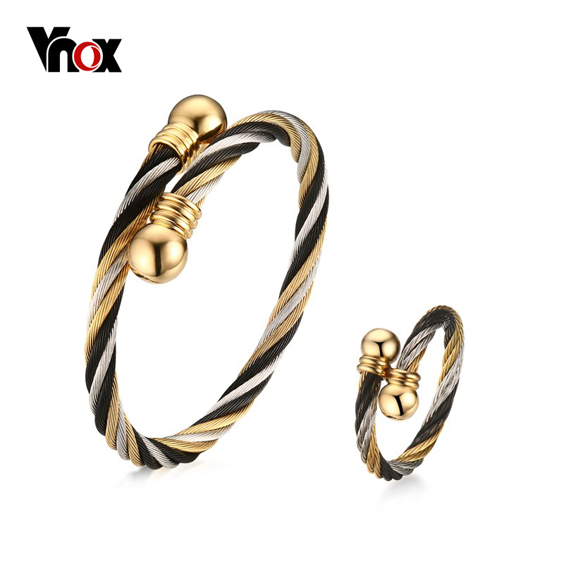 Vnox Twisted Cable Cuff Bracelet and Ring Jewelry Sets for Women Stainless Steel Female Gifts vintage faux pearl twisted cuff ring for women
