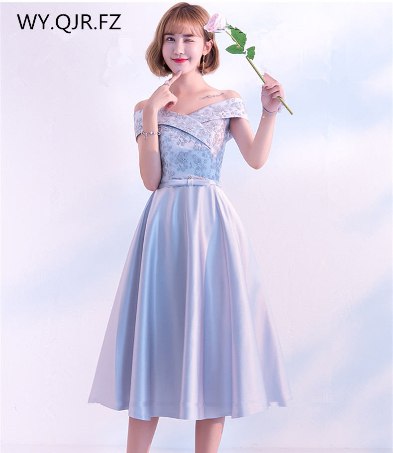KBS036#Boat Neck Medium Pale Mauve Lace Up Bridesmaid Dresses Wedding Party Dress Prom Gown Wholesale Fashion Women Clothing