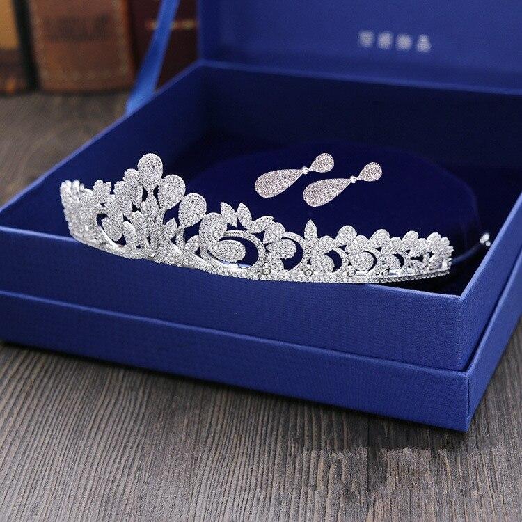 Micro Pavée Pleine Zircon Diadème Boucles D'oreilles Cuivre Zircon Bijoux De Mariée CZ Mariée Couronne De Mariage Cheveux Accessoires Mariage WIGO1042