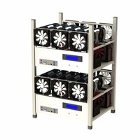 Compatible 6 GPU Open Air Mining Case Computer ETH Miner Frame Rig With 6 Fans And Temp Monitor System Good Heat Dissipation