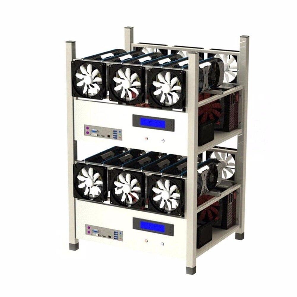 Installation Compatible de cadre de mineur d'eth d'ordinateur de cas d'exploitation à Air ouvert de 6 GPU avec 6 ventilateurs et système de moniteur de température bonne Dissipation thermique