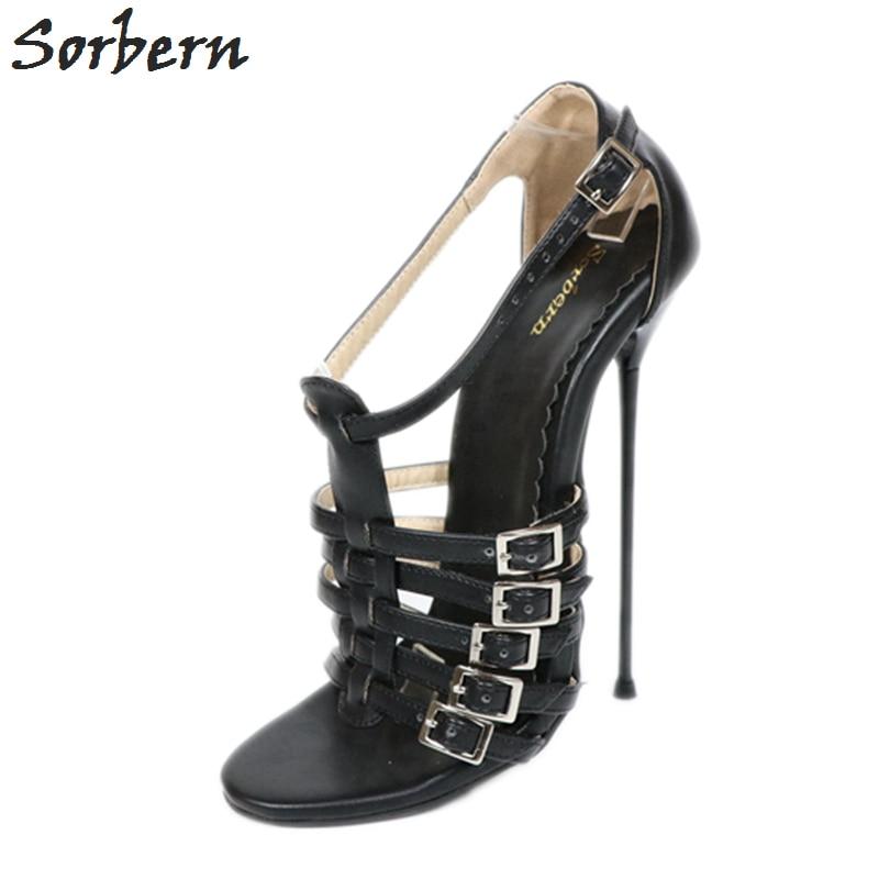 Sorbern 16Cm Metal High Heels Sandals Women Plus Size 37 52 Unisex Shoes T Straps Summer