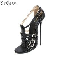 Sorbern 16Cm Metal High Heels Sandals Women Plus Size 37 52 Unisex Shoes T Straps Summer Shoes Sandal Bad Footwear Painpleasurer