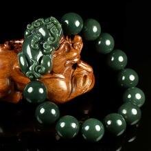 Natural verde hetian jade pulseira masculino e feminino 14mm e 16mm contas redondas jade pulseira jóias presentes