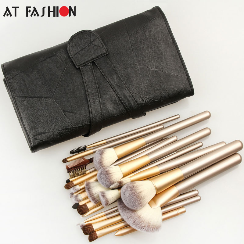 Professional 24pcs Makeup Brushes Set Cosmetic Make Up Tools Set Fan Foundation Powder Brush Eyeliner Brushes With Leather Case professional 24pcs set champagne makeup brushes powder foundation blush brush high quality cosmetic make up tools kits with bag