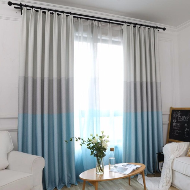 US $20.87 30% OFF|Aliexpress.com : Buy New Nordic Ctyle Simple Modern  Blackout Curtains For Living Room Printed Polyester Curtain Gradient 3  Color ...