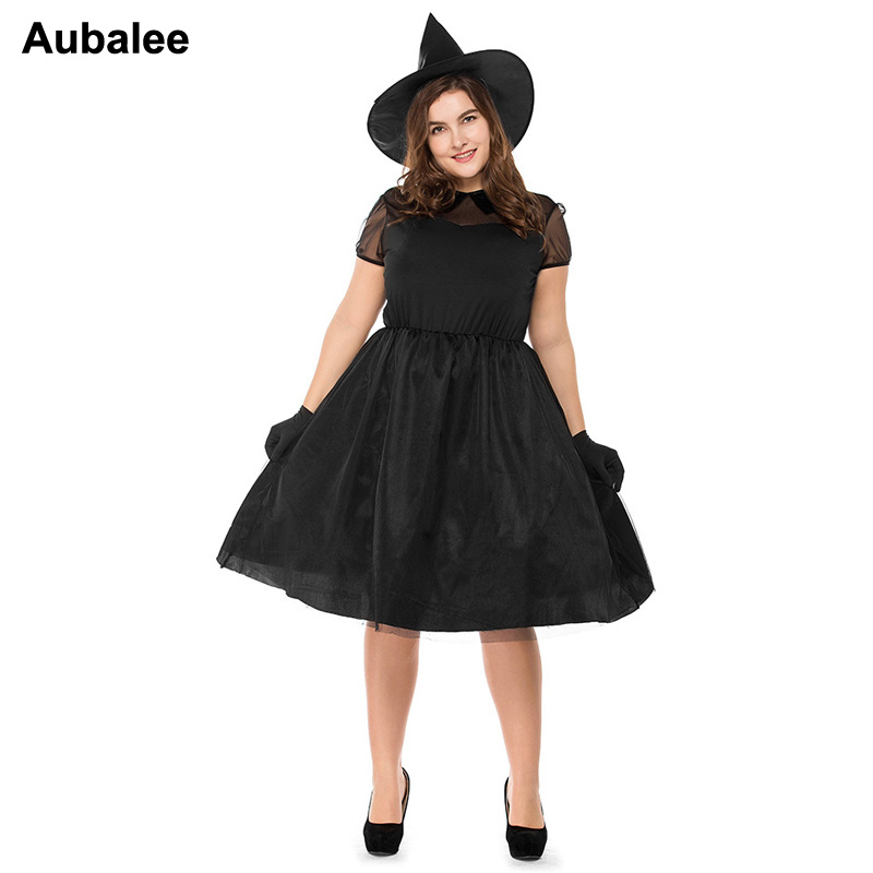 Plus Size Adult Women Purim Carnival Party Black Witch Halloween Costume Queen Carnival Party Cosplay Fancy Dress M-3XL