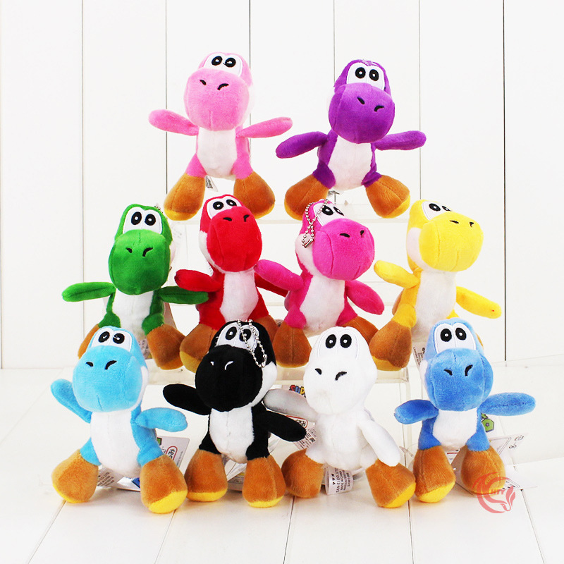 12cm Super Mario Bros Yoshi Stuffed Plush Toys With Keychain Pendant For Children