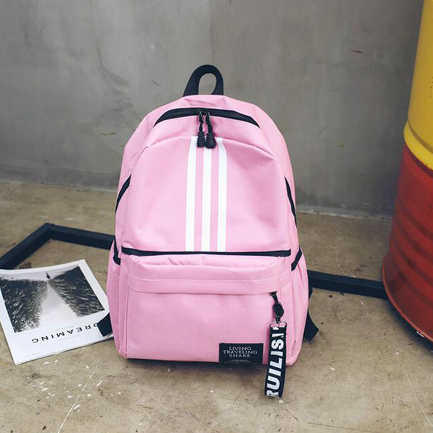 Stripe Women Men Canvas Backpack School Bag For Teenager Boy Girl Student Book Back Pack Bag Middle School Daily Outdoor Pack