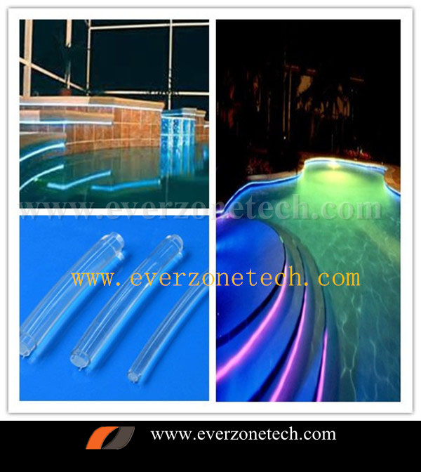 8mm solid core side glow fiber optic led light cable for swimming pool or underwater decoration
