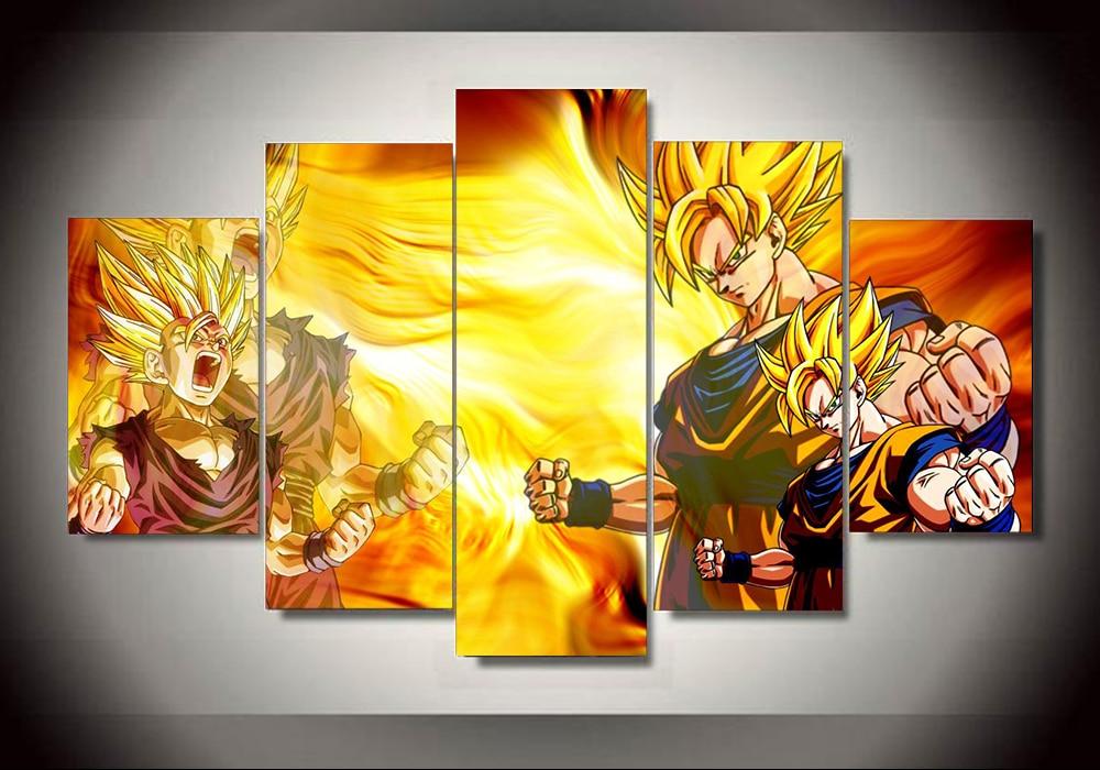 Multiple Choices 5 Panels Wall Art Dragon Ball Z Canvas