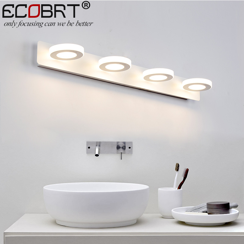 ECOBRT Modern bathroom led mirror lights 65cm AC90-260V 12W cosmetic white wall lamps acrylic bathroom lighting indoor modern acryl aluminum 4 heads led 12w mirror lamps for bathroom aisle 65cm waterproof ip65 anti fog indoor wall lamps 1184