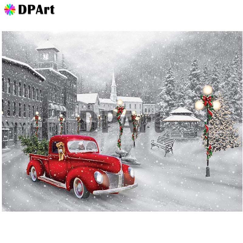 Diamond Painting 5D Full Square/Round Drill Christmas Street Snow Car Daimond Embroidery Painting Cross Stitch Mosaic Pic M983(China)