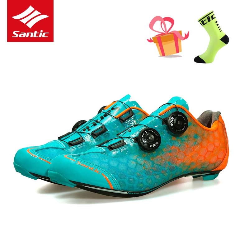 SANTIC Level 10 Carbon Fiber Ultralight Cycling Shoes Road Bicycle Sneakers Men's Pro Racing Zapatillas Ciclismo Bike Shoes 2017 santic road cycling shoes pro ultralight carbon fiber sole road bike shoes self lock athletics bicycle shoes zapatillas ciclismo