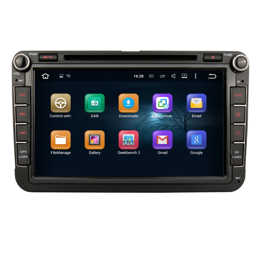 8 inch Android 5.1 Quad Core Car Radio DVD GPS for VW Skoda Support 1080P Video 3G WIFI OBDII DAB+