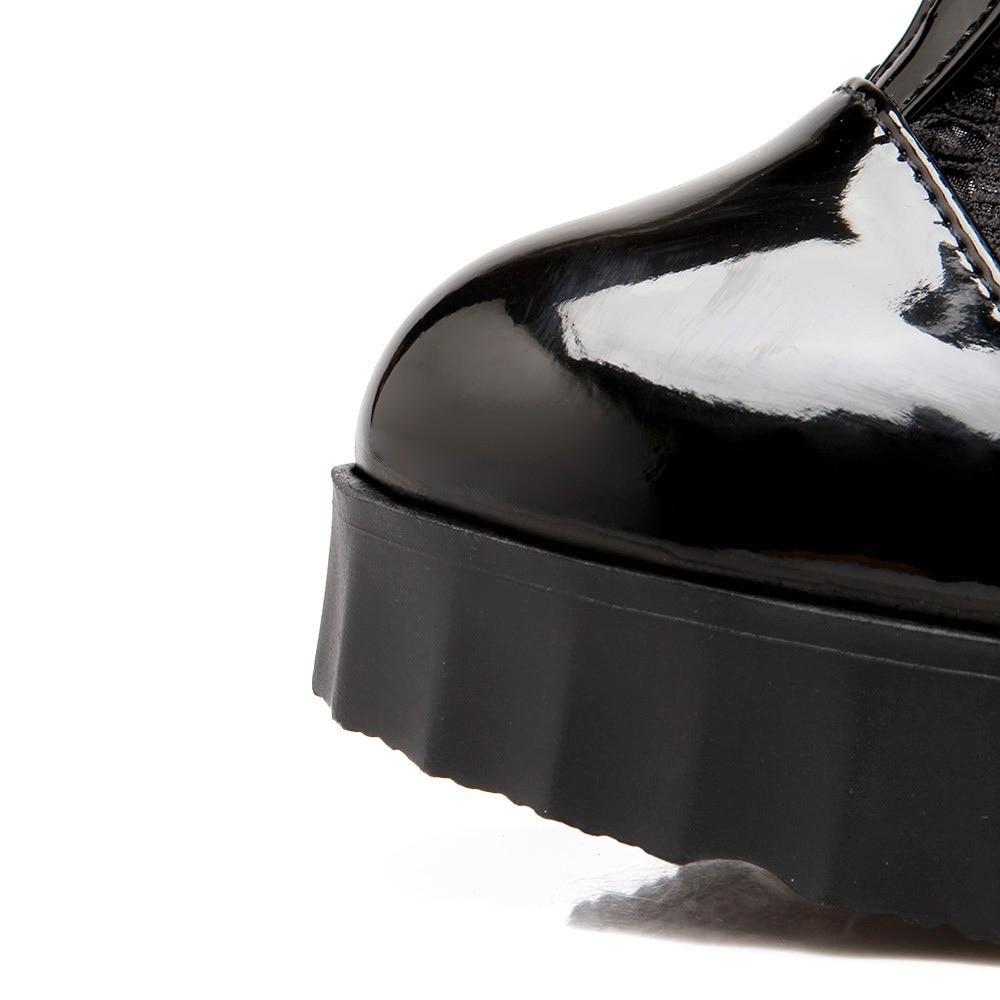 5 Morazora Cm Cremallera Moda Altos Botas Mujer Rodilla Verano 10 Negro Zapatos Pu 2018 Redonda Tacones blanco Encaje Punta Plataforma Largas rCwn8rq0