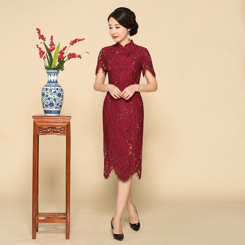 2019 New Claret Women Lace Mandarin Collar Cheongsam Long Oversize Chinese Wedding Mother Dress Elegant Printed Qipao M-XXXL