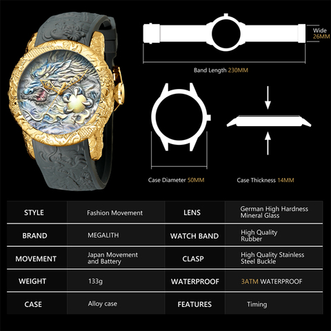 MEGALITH Fashion Gold Dragon Sculpture Watch Men Quartz Watch Waterproof Big Dial Sport Watches Men Watch Top Luxury Brand Clock Multan