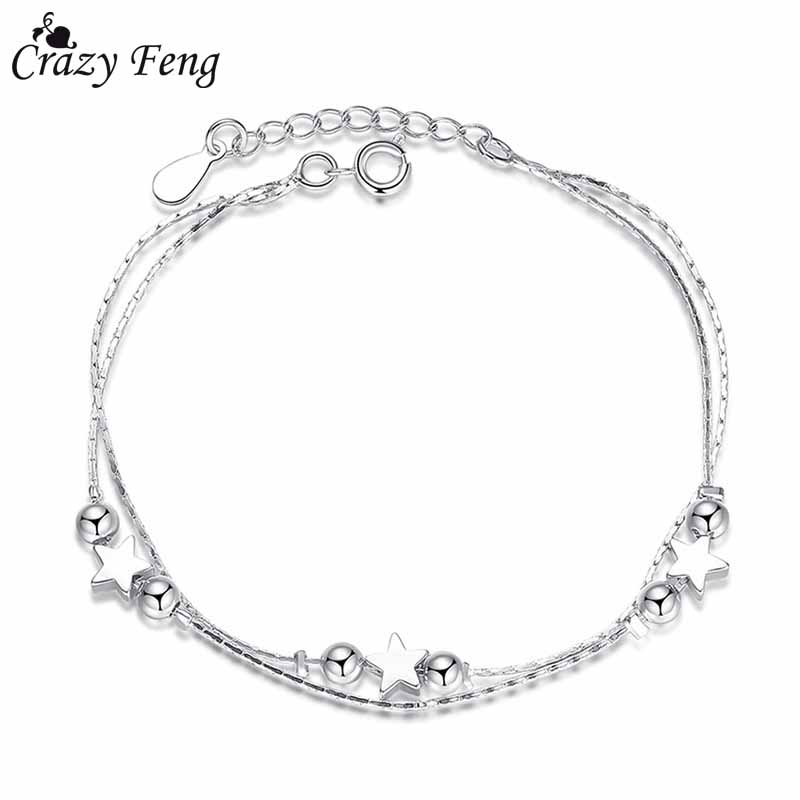 Crazy Feng Classic Silver Color Ocean Star Round Ball Bracelet and Bangles Mujer Jewelry Heart Pendant Link Chain Bracelet Gifts