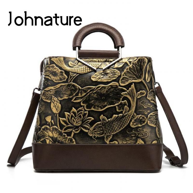 Johnature Genuine Leather Vintage Embossed Handmade Women Handbags 2019 New Large Capacity Cowhide Shoulder&crossbody Bags