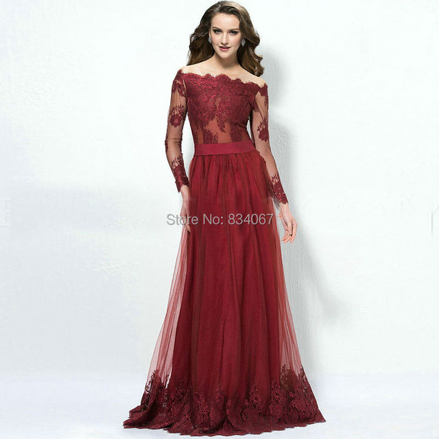 63947468094c Elegant Off Shoulder Long Sleeves Evening Dress 2017 Burgundy Tulle Lace  Appliques Prom Gown A line Floor Length Party Dress