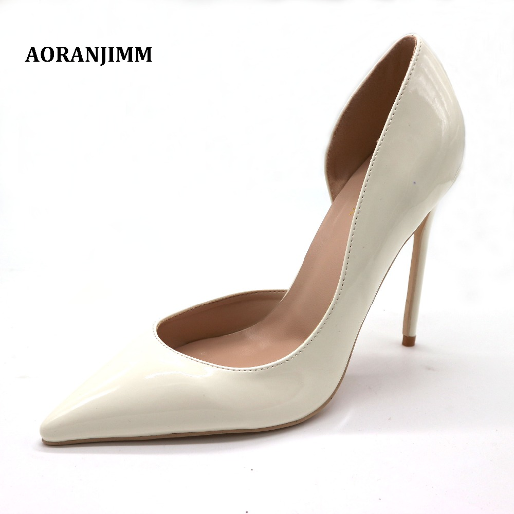 Free shipping white beige patent leather pointed toe D Orsay office lady hot sale discount brand
