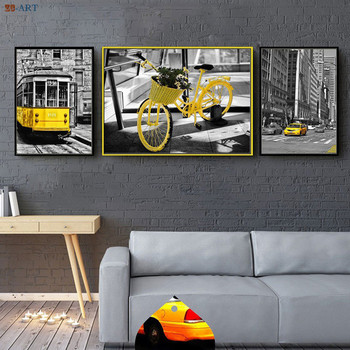 Nordic City Series Canvas Painting Yellow Vehicle City Wall Art Tram Picture Black and White Poster Taxi Bike Print Home Decor image