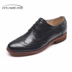 Image 2 - Echte schapenvacht lederen brogue schoenen yinzo lady flats schoenen vintage handgemaakte winter oxford schoenen voor vrouwen zwart grijs bruin