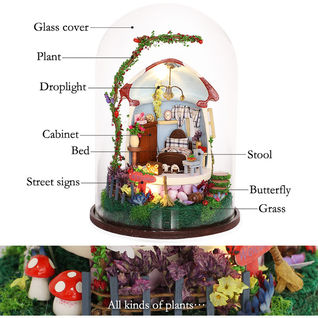DIY Wooden House Miniaturas with Furniture DIY Miniature House Dollhouse Mushroom Romance Toys for Children Birthday Gift