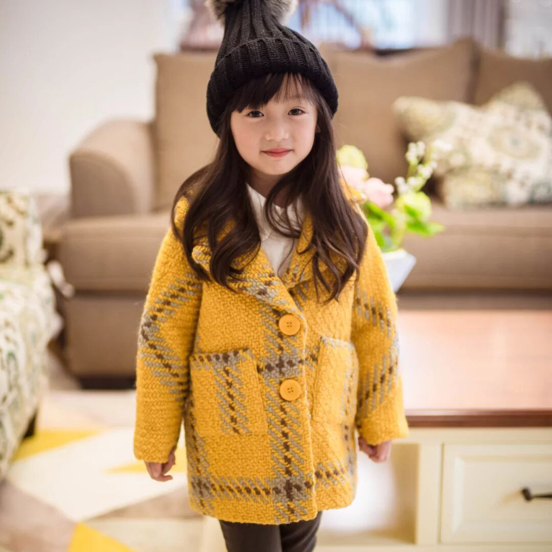 The children wear 2016 new winter coat female Korean Princess Plaid Wool Coat coat free shipping