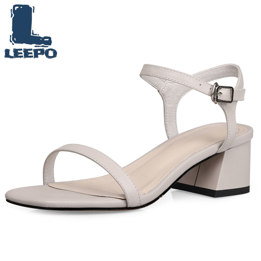 LEEPO Women Strappy Sandals Summer Ankle Strap Luxury Designer Sandals Woman Open Toe Block Heels Designers