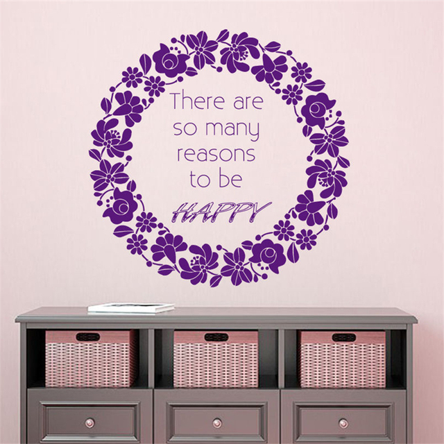 3fff7f4a1 Inspirational Wall Decal Quote Flower Wreath Door Decals Vinyl Decor Art  Wall Decor Wall Decals for kids rooms stickers D1007